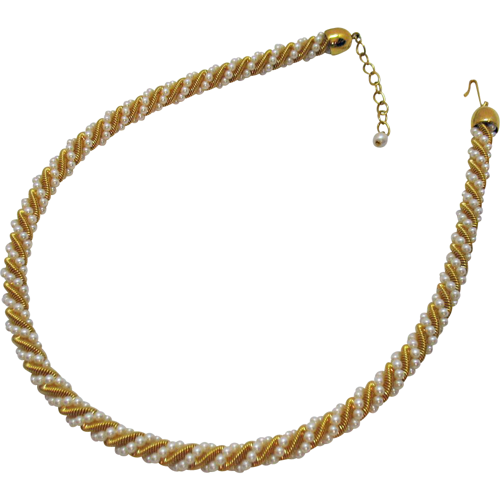 Vintage Gold Snake Skin Wire Faux Seed Pearl Wrapped Necklace
