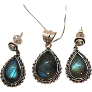 Beautiful Vintage Sterling Silver Labradorite Gemstone Necklace Cultured Pearl Pierced Earrings Set Italy