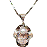 Over the Top Signed UTC Italy Vintage Sterling Silver Massive Fancy Cut Pear Cubic Zirconia Pendant Necklace