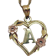 Stunning Signed 14K Gold Beverly Hills Gold Vintage Italian Necklace Initial A Heart Floral Pendant
