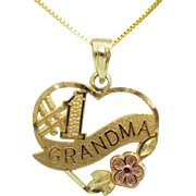 Signed OR 14K Gold Vintage Number 1 Grandma Floral Heart Pendant Necklace Italy