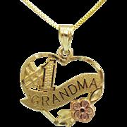 Signed OR 14K Gold Vintage Number 1 Grandma Floral Heart Pendant Necklace Italy