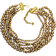 Dramatic Signed Carolee Golden Baroque Beaded Five Strand Vintage Necklace