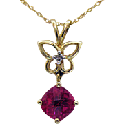 Signed Samuel Aaron THL 10K Gold Vintage Cushion Cut Ruby Diamond Butterfly Pendant Necklace