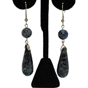 Bold Vintage Natural Blue Sodalite Tear Drop Stainless Steel Pierced Earrings