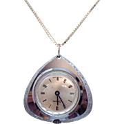Signed Endura Swiss Made Wind Up Pendant Watch on Sterling Silver Chain