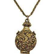 Signed Florenza Unusual Vintage Embossed Floral Locket Necklace
