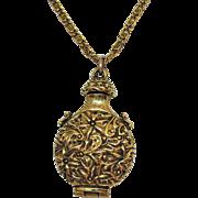 Signed Florenza Unusual Vintage Embossed Floral Locket Necklace