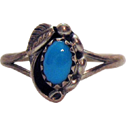 Petite Signed SC Navajo Native American Indian Sleeping Beauty Turquoise Sterling Silver Ring