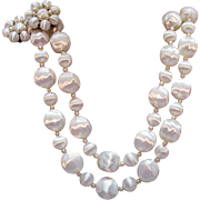 Feather Light Vintage White Plastic Faux Baroque Pearl Two Strand Chunky Necklace Clip Earrings Set