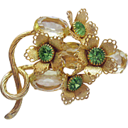 Magnificent Vintage Lemon Stones Peridot Rhinestones Gold Brooch Floral Cups