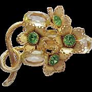 Magnificent Vintage Lemon Stones Peridot Rhinestones Gold Brooch Floral Cups