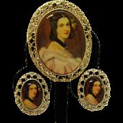 Vintage Porcelain Transfer Wear Victorian Revival Convertible Pendant Necklace Brooch Clip Earrings