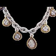 Signed Monet Unusual Vintage Two Tone Rhinestone Charm Necklace