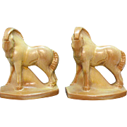 Vintage Frankoma Horse Bookends 1980s Sapulpa Clay Desert Gold Color Good Condition