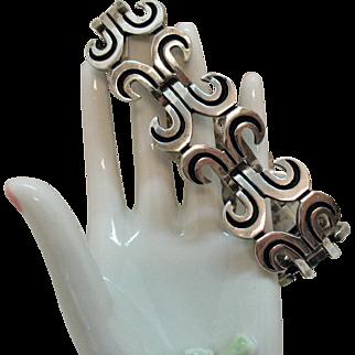 Exceptional Signed JS Taxco Mexico 925 Sterling Silver Vintage Bracelet Eagle 3 65.3 Grams
