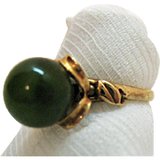 Stunning Vintage 10K Rose Gold Ring Emerald Green Natural Jade