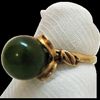 Stunning Vintage 10K Rose Gold Ring Emerald Green Natural Jade