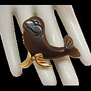 Unusual Vintage Figural Carved Lucite Sea Lion Brooch