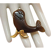 Unusual Vintage Figural Carved Lucite Sea Lion Brooch