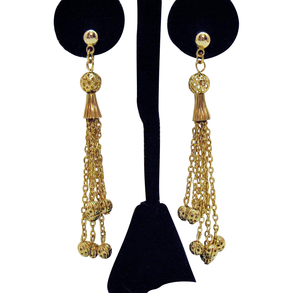 Vintage Golden Filigree Beaded Chain Dangle Pierced Earrings 3 Inches Long
