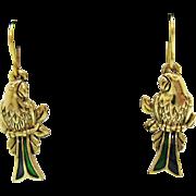 Fabulous Green Enameled Figural Parrot Bird Vintage French Wire Pierced Earrings