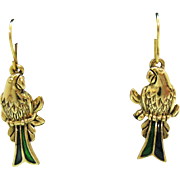 Fabulous Green Enameled Figural Parrot Bird Vintage French Wire Pierced Earrings