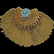 Very Unique Massive Beaded Vintage Tassel Brass Paste Rhinestone Brooch