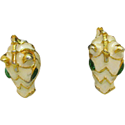 Vintage Pierced Earrings Enameled Glass Eyes Figural Horse Heads