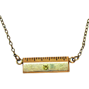 Vintage 1940s Diamond One Inch Ruler Designer Signed 10K Gold Filled Necklace