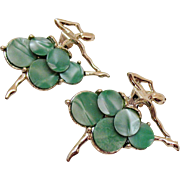 Stunning Vintage Green Opalescent Figural Ballerina Silver Scatter Pins