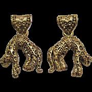 Vintage Hanging Figural Leopard Gold Tone Pierced Earrings Black Enameling