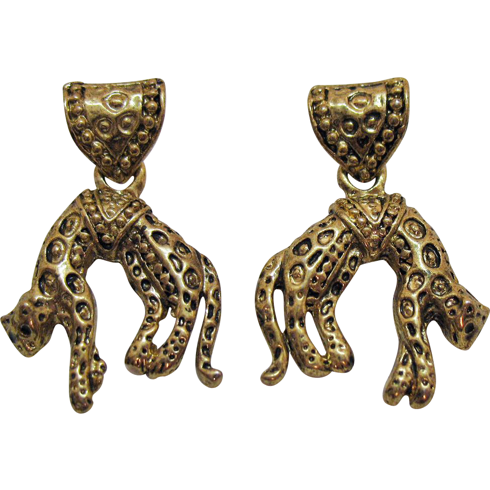 Vintage Hanging Figural Leopard Gold Tone Pierced Earrings Black Enameling