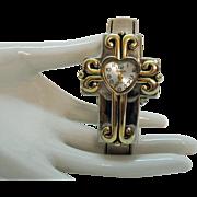 Rare Signed Gruen Vintage Heart Cross Two Tone Cuff Wrist Watch