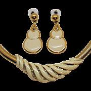 Signed Napier Vintage Enameled Golden Snake Skin Omega Necklace Pierced Earrings Set
