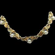Vintage 12K Gold Filled Cultured Pearl Bow Design Necklace