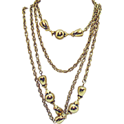 Signed Monet Vintage 55 Inch Long Golden Beaded Necklace