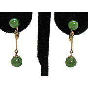 Stunning 14K Gold Genuine Jade Bar Beaded Vintage Screw Back Earrings