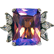 Exceptional Vintage Signed RA 925 Color Changing Lavender Glass Tourmaline CZ Ring Sterling Silver