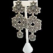 Signed Jose Maria Barrera for Avon Magnificent 1992 Clip Earrings 4 ½ Inches Long Rhinestone Silver Floral UNWORN Original Box