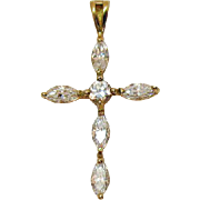 Stunning Vintage 10K Gold Marquise Cubic Zirconia Religious Cross Pendant