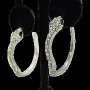 Darling Vintage Pava Rhinestone Figural Snake Pierced Earrings Hoops