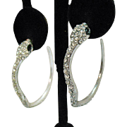 Darling Vintage Pava Rhinestone Figural Snake Pierced Earrings Hoops