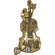 Awesome Vintage Figural Cello Instrument Brooch Cherub Heart Pave Rhinestones