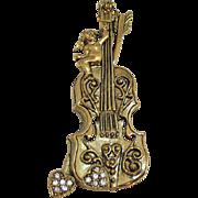 Awesome Vintage Figural Cello Instrument Brooch Cherub Heart Pava Rhinestones