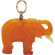 Genuine Hand Carved Yellow Jade Vintage Figural Elephant 14K Gold Swivel Bale Pendant Charm 3D