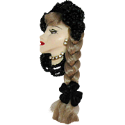 Vintage Porcelain Faux Diamond Figural Flapper Girl Brooch Beaded Hat Synthetic Hair