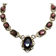 Magnificent Art Deco Sterling Silver Amethyst Repousse Vintage Choker Necklace