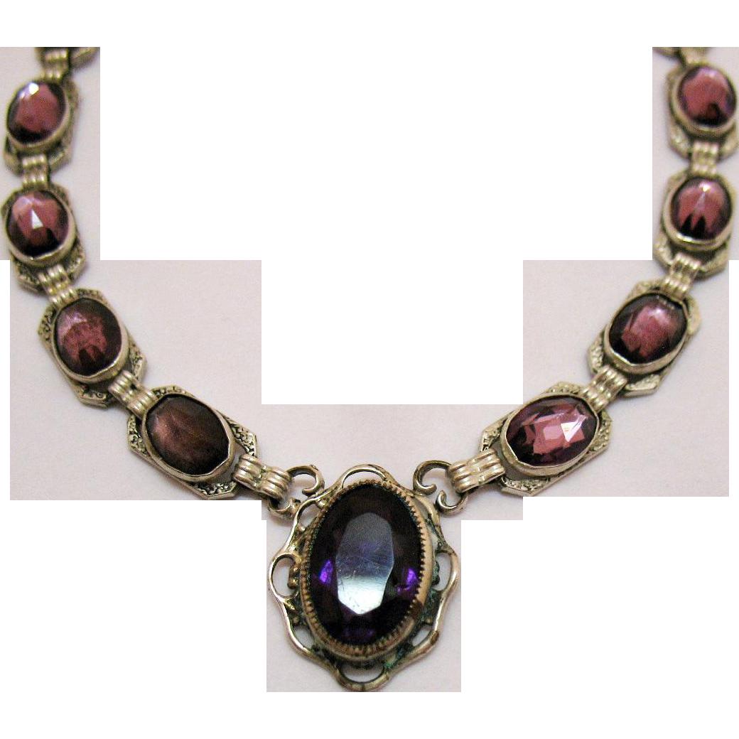 Magnificent Art Deco Sterling Silver Amethyst Repousse Vintage Choker Necklace