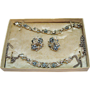 Rare Vintage Signed Coro Teen Parure Necklace Bracelet Earrings Original Box Children's or Adults